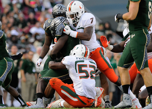 vaughn telemaque denzel perryman miami hurricanes south florida bulls