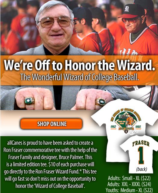 ron fraser wizard college baseball allcanes