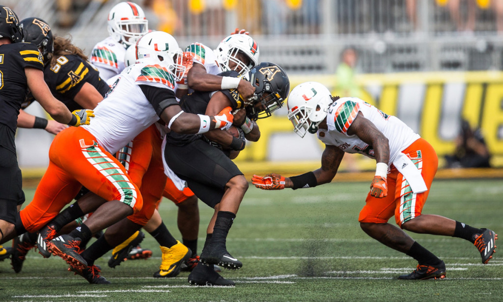 miami hurricanes football defense manny diaz appalachian state mountaineers chad thomas zach mcclound michael pinckney shaq quarterman