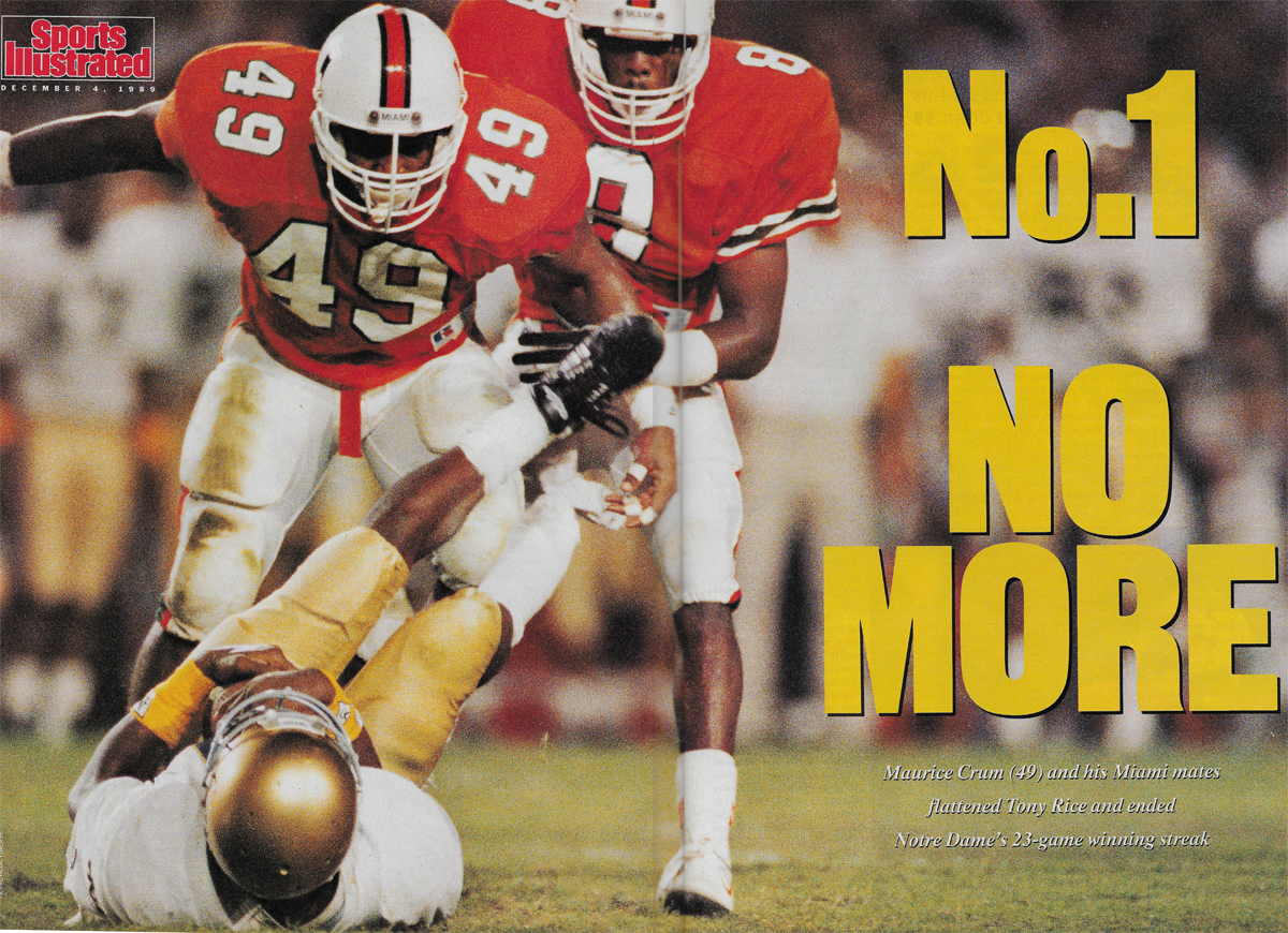 miami hurricanes notre dame fighting irish orange bowl november 1989