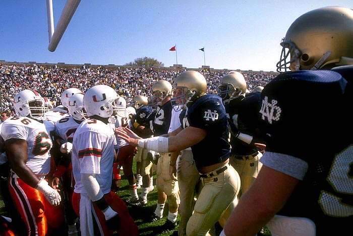 miami hurricanes notre dame fighting irish catholics vs convicts south bend